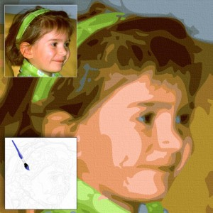 Transformation of your photo to a paint by numbers kit