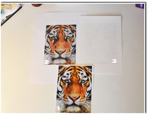 Paint by number -  Tiger example